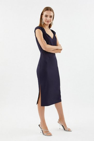 Navy Sweetheart Neck Shift Midi Dress