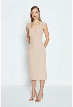 Nude Sweetheart Neck Shift Midi Dress