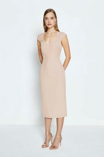 Nude Sweetheart Neck Shift Dress