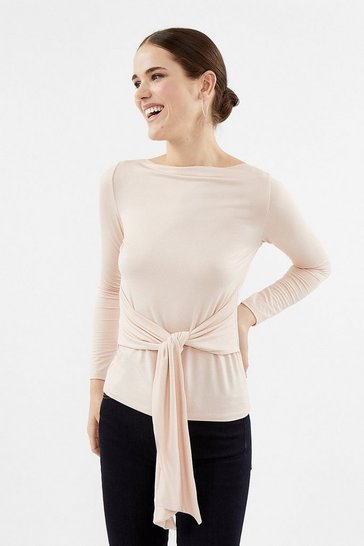 Blush Foiled Jersey Long Sleeve Tie Top