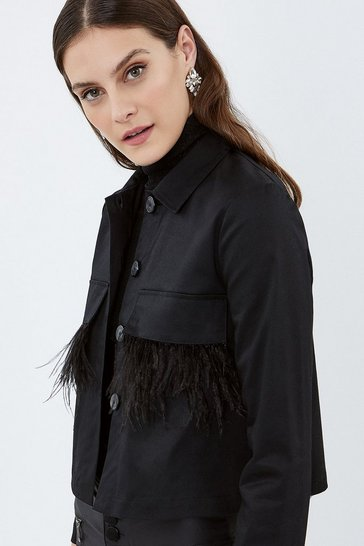 Black Feather Trim Shacket