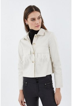 Natural Feather Trim Shacket