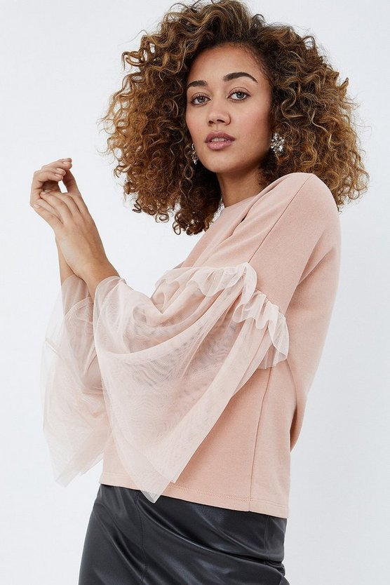 Blush Tulle Sleeve Sweat Shirt