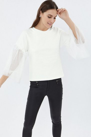 Ivory Tulle Sleeve Sweat Shirt