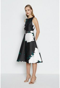 Black Belted Twill Full Skirted Dress