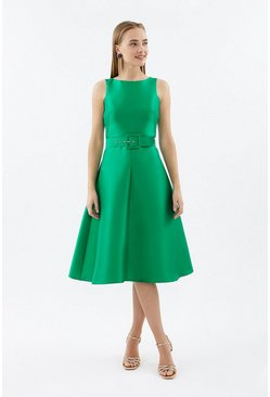 Green Belted Twill Full Skirted Dress