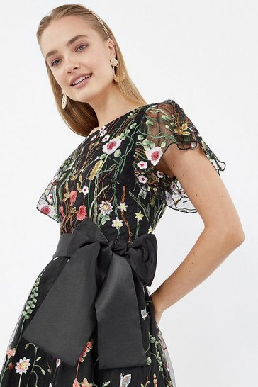Multi Embroidered Flute Sleeve Dress