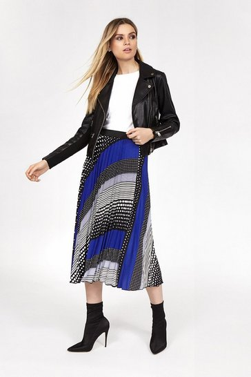 Blue Spot And Stripe Pleated Skirt