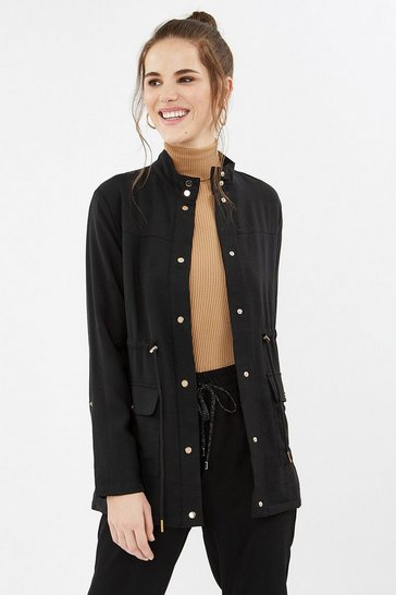 Black Popper Detail Relaxed Jacket