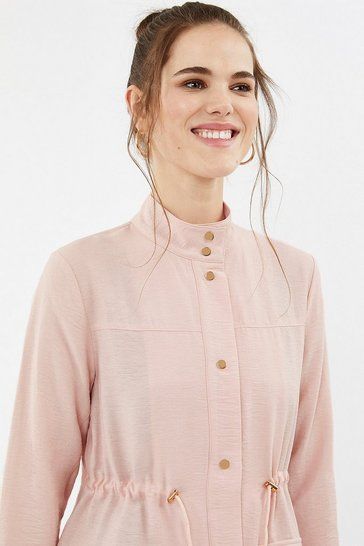 Blush Popper Detail Relaxed Jacket