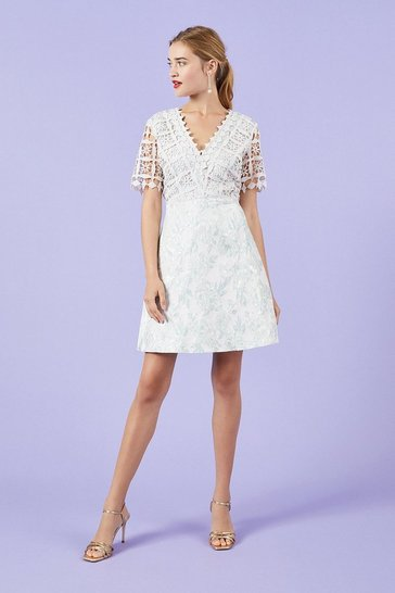 Grey Lace And Jacquard A-Line Dress