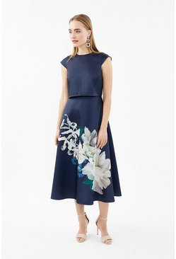 Navy Floral Cap Sleeve Full Skirted Shelf Dress