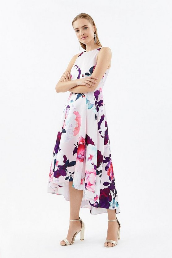 Blush Seamed Printed Hi Low Twill Dress