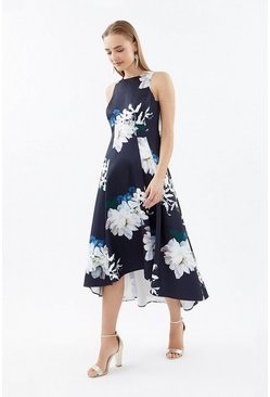 Navy Seamed Printed Hi Low Twill Dress