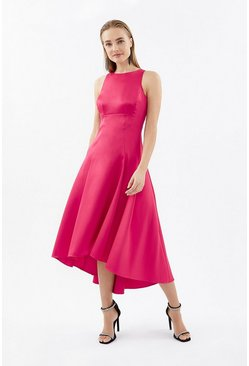 Raspberry Seamed Printed Hi Low Twill Dress