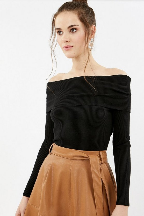 Black Rib Bardot Knit Top