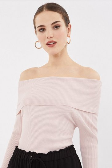 Blush Rib Bardot Knit Top