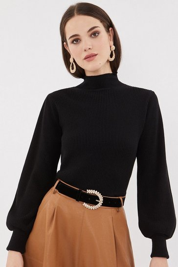 Black Rib Knit Belt Sleeve Top