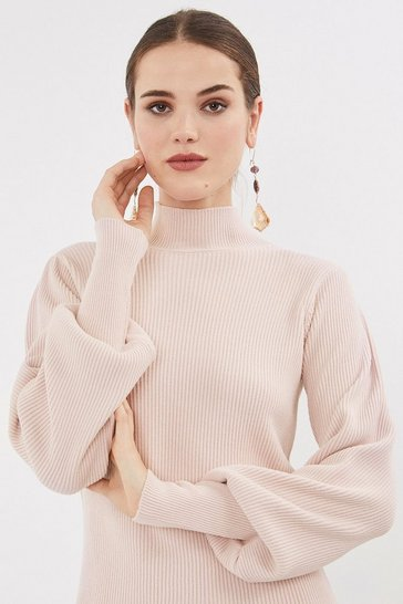 Blush Rib Knit Belt Sleeve Top