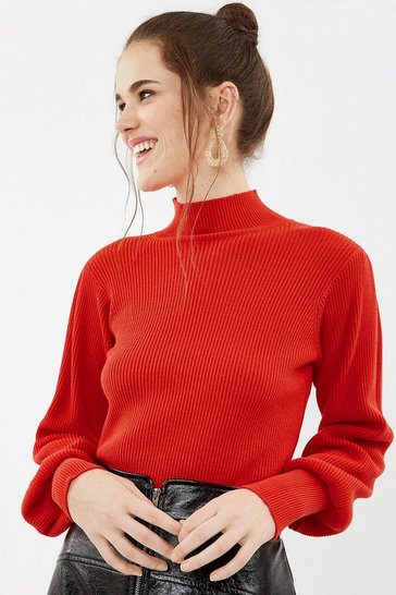Coral Rib Knit Belt Sleeve Top