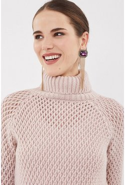 Blush Chunky Roll Neck Sequin Knit Top