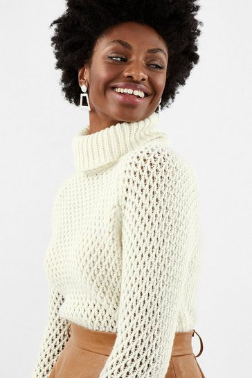 Ivory Chunky Roll Neck Sequin Knit Top