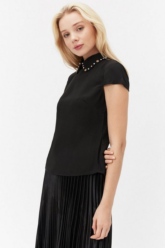 Black Short Sleeve Jewelled Collar Shell Top