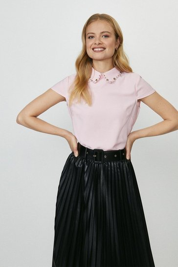 Blush Short Sleeve Jewelled Collar Shell Top