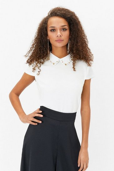 Ivory Short Sleeve Jewelled Collar Shell Top