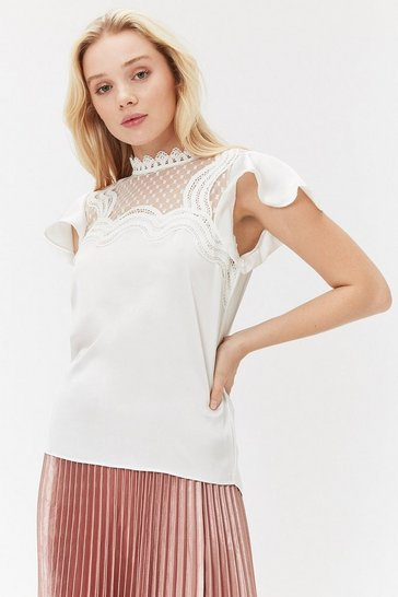 Ivory Lace Trim Frill Sleeve Top