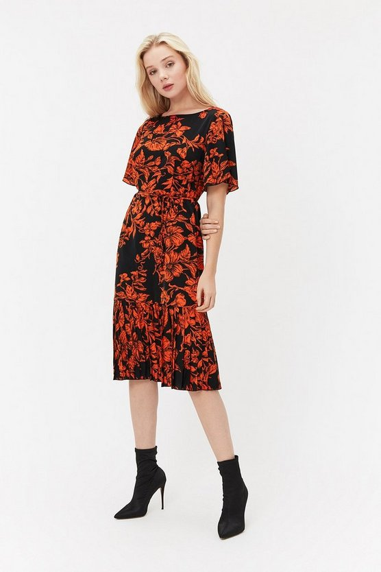 Multi Floral Pleated Hem Midi Dress