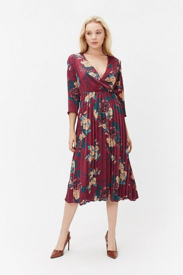 Merlot Floral Print Wrap Pleated Dress