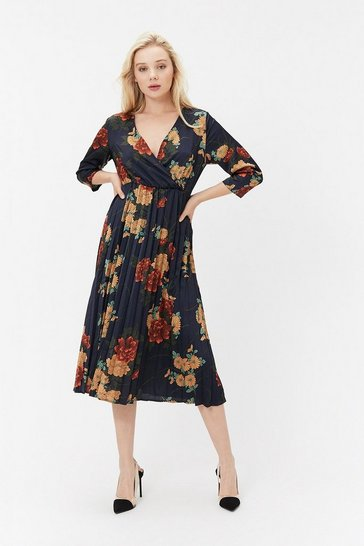 Navy Floral Print Wrap Pleated Dress