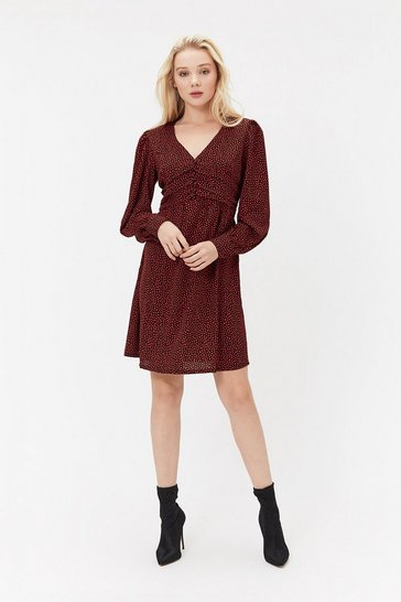 Multi Button Detail Spot Dress