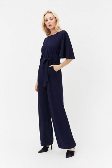 Navy Flare Sleeve Jumpsuit