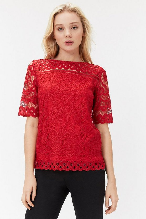 Red Lace Jersey Top