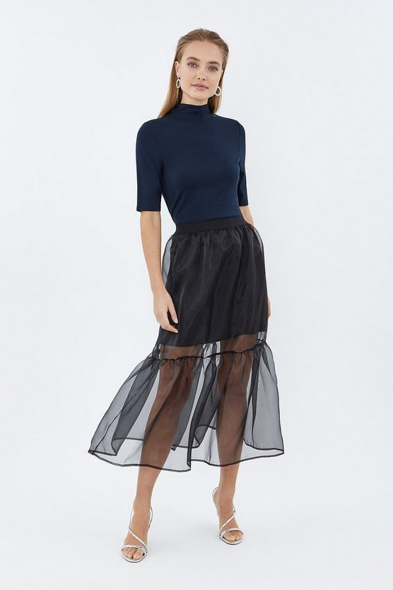 Black Tiered Organza Midi Skirt