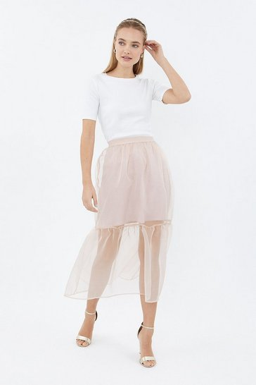 Blush Tiered Organza Midi Skirt