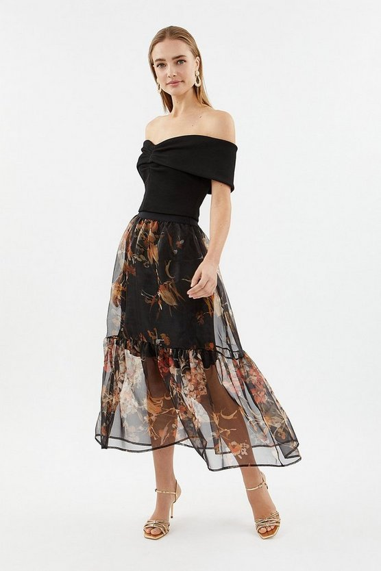 Multi Tiered Organza Printed Midi Skirt