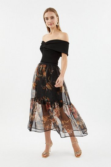 Multi Printed Organza Tiered Skirt