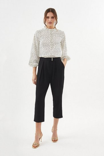 Black Gold Bar Belted Trouser