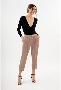Blush Gold Bar Belted Trouser
