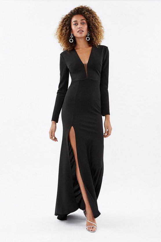 Black Plunge Front Long Sleeve Maxi Dress