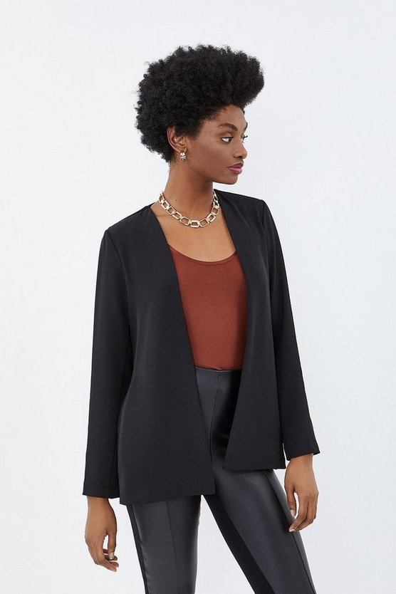 Black Split Side Tab Back Jacket