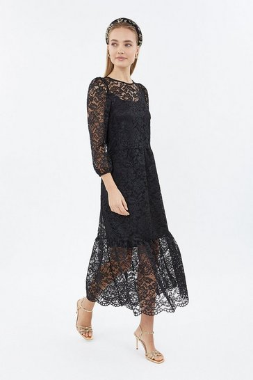 Black Long Sleeve Lace Dirndl Midi Dress