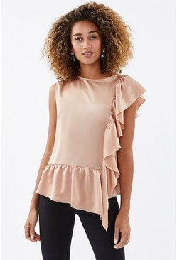 Blush Ruffle Detail Satin Top