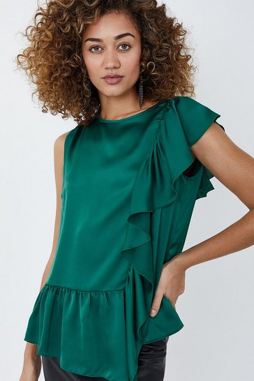 Green Ruffle Detail Satin Top