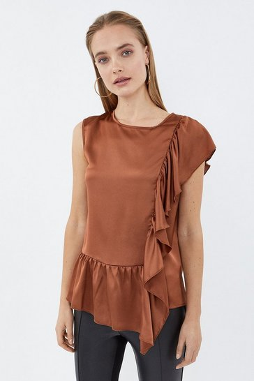 Rust Ruffle Detail Satin Top