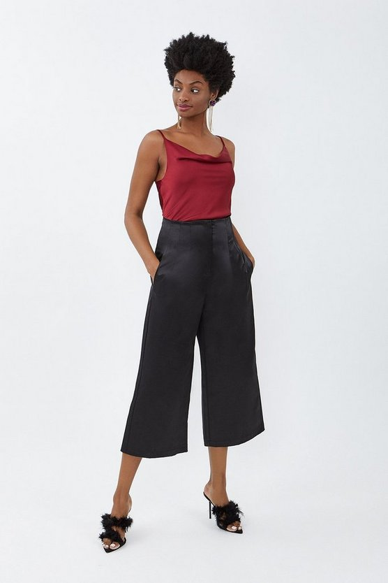 Black Stretch Satin Culottes