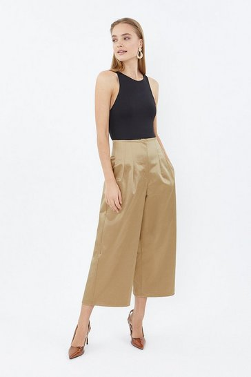 Camel Stretch Satin Culottes